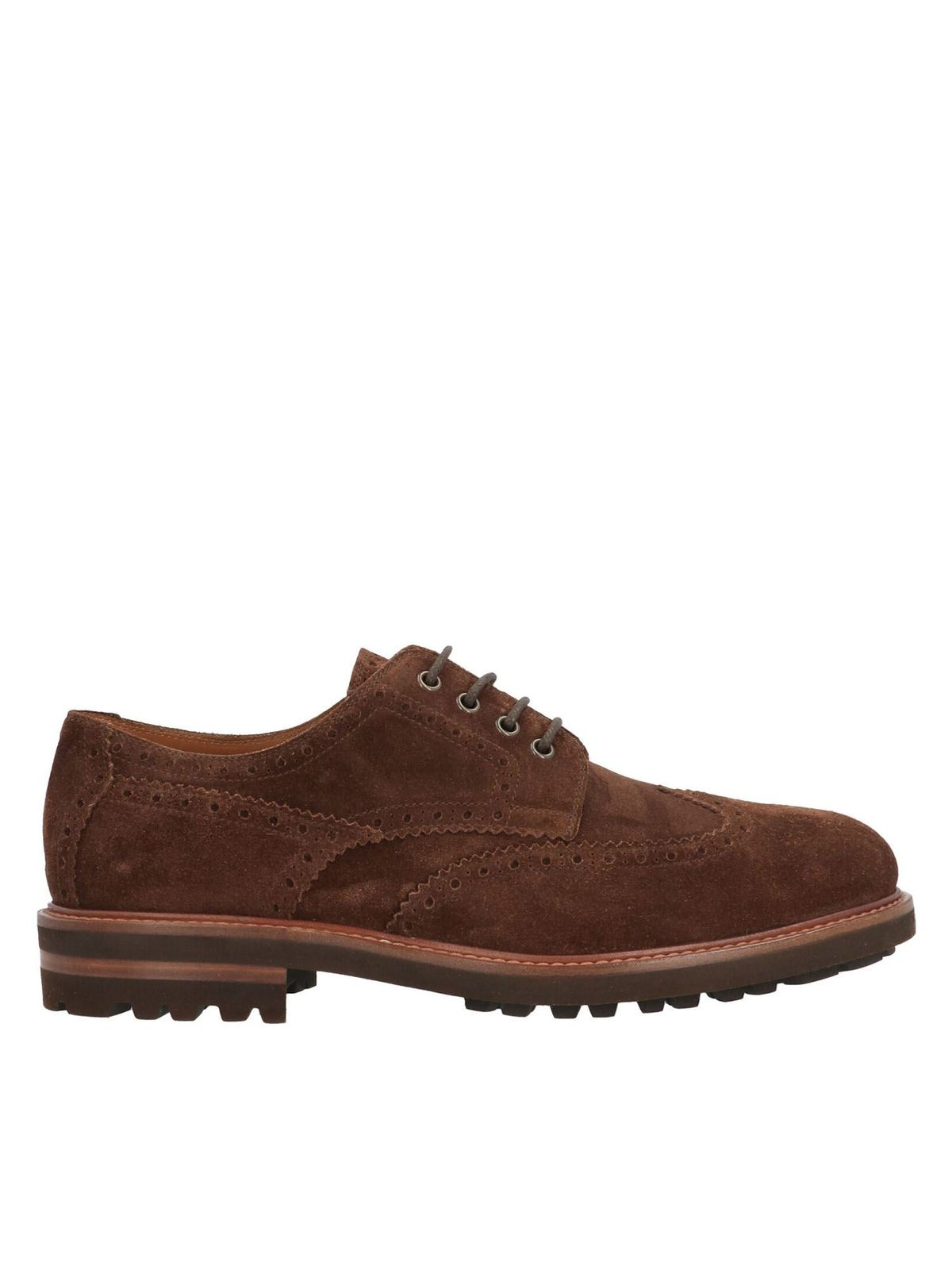 BRUNELLO CUCINELLI LONGWING BROGUE LACE-UP IN BROWN