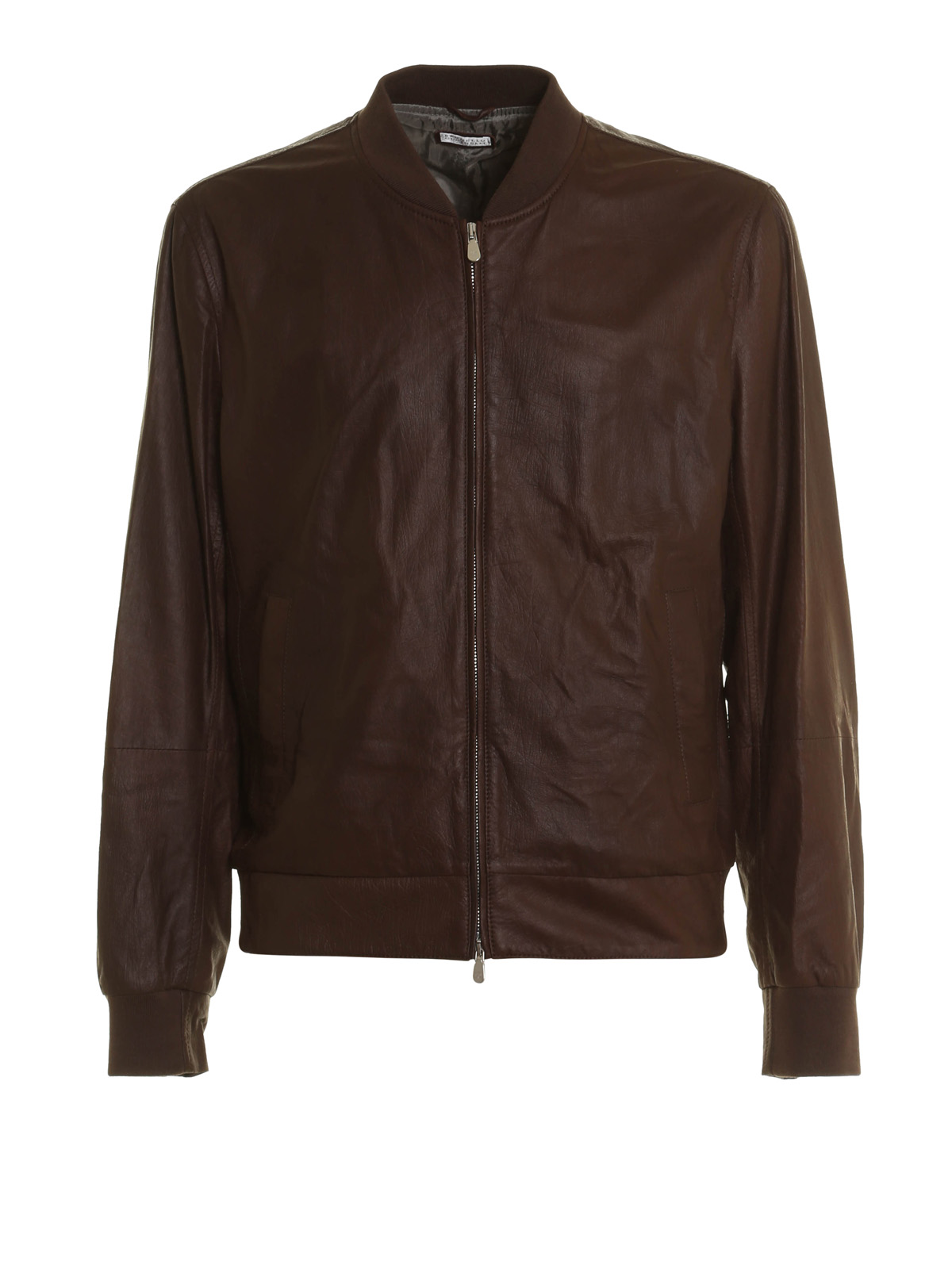 vintage leather bomber jacket by brunello cucinelli