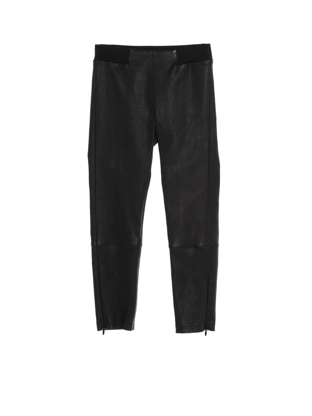 Brunello Cucinelli STRETCH LEATHER LEGGINGS IN BLACK