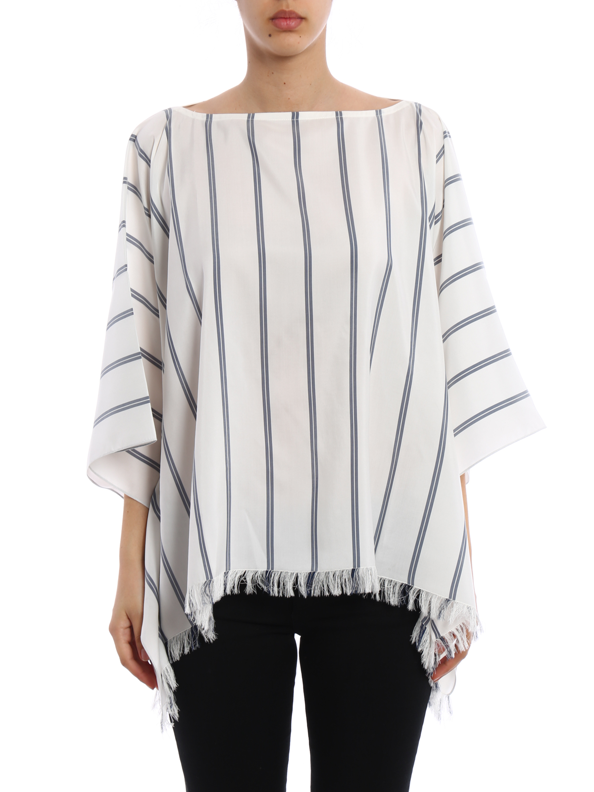0b7a5f335d8f66 BRUNELLO CUCINELLI: blouses online - Striped silk poncho style blouse