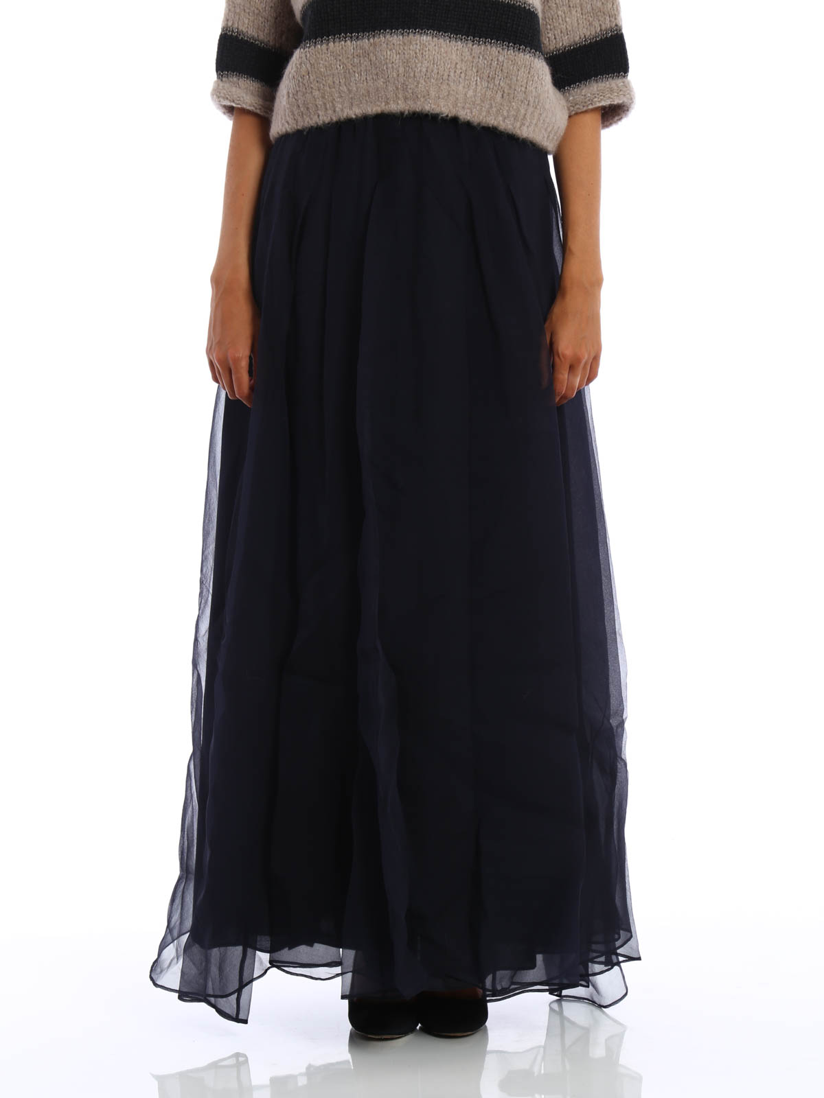 50af80f18 BRUNELLO CUCINELLI: Long skirts online - Silk tulle layered maxi skirt