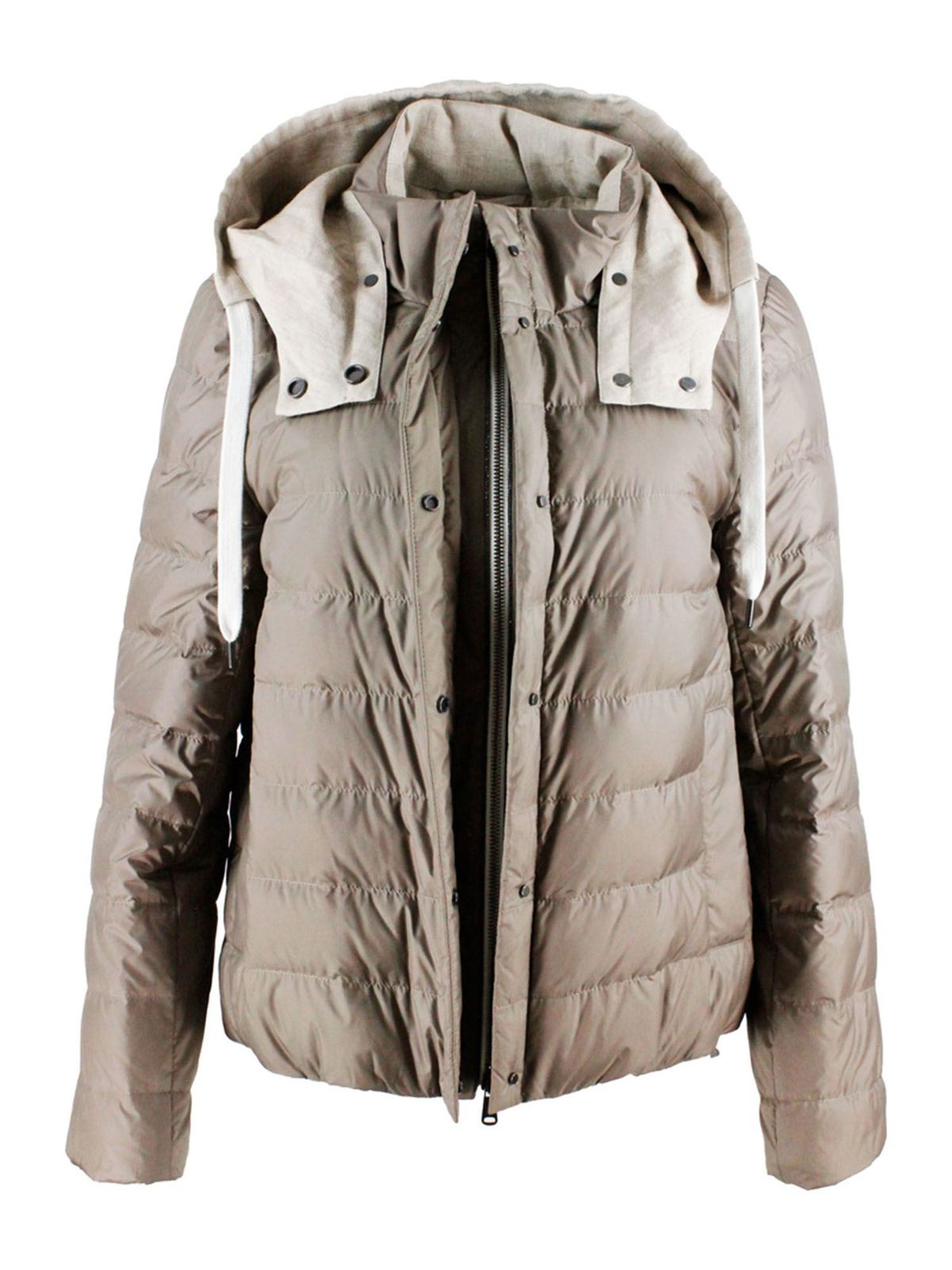 Brunello Cucinelli DOWN JACKET WITH REMOVABLE HOOD IN BROWN