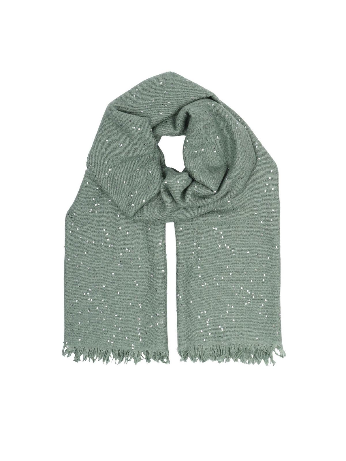 Brunello Cucinelli MICRO SEQUINS PASHMINA IN GREEN