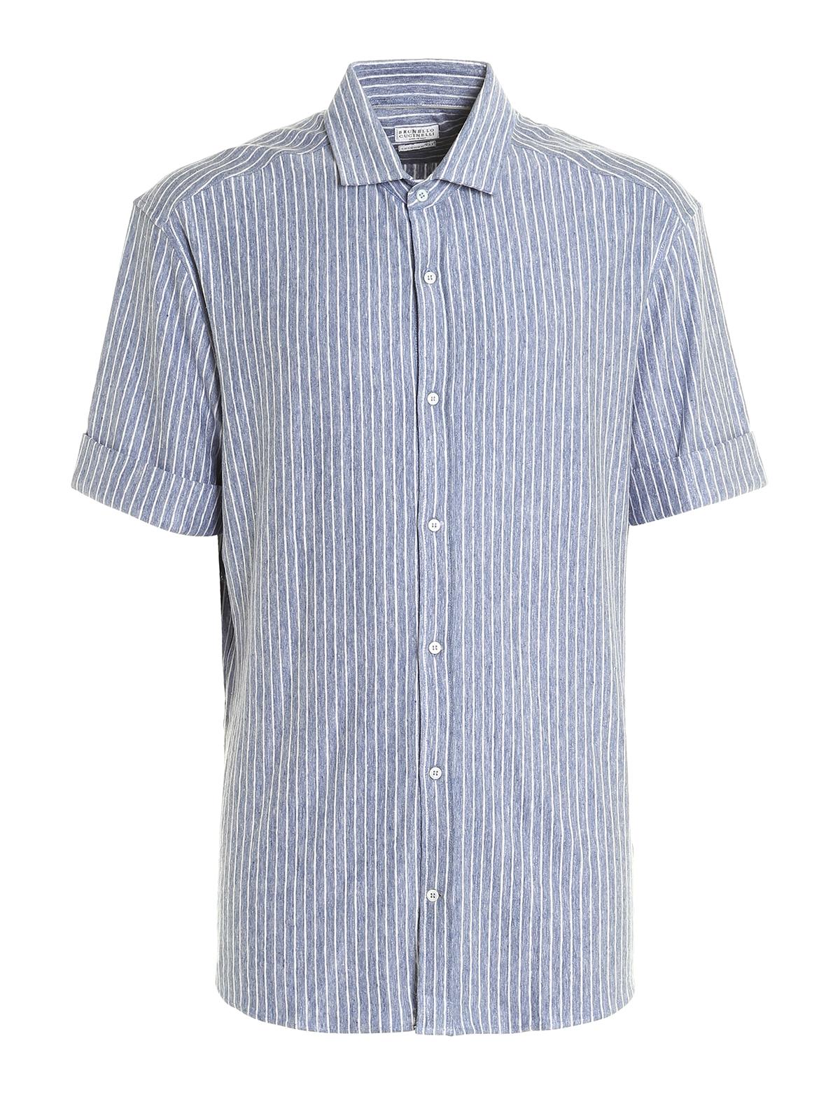 Short sleeve linen jersey shirt by brunello cucinelli for Short sleeve linen shirt