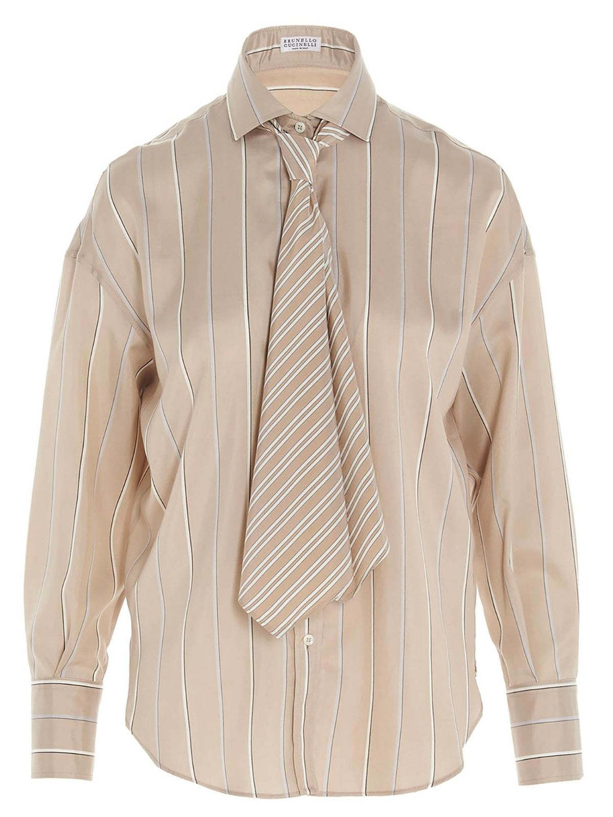 Brunello Cucinelli STRIPED SHIRT WITH TIE IN BEIGE