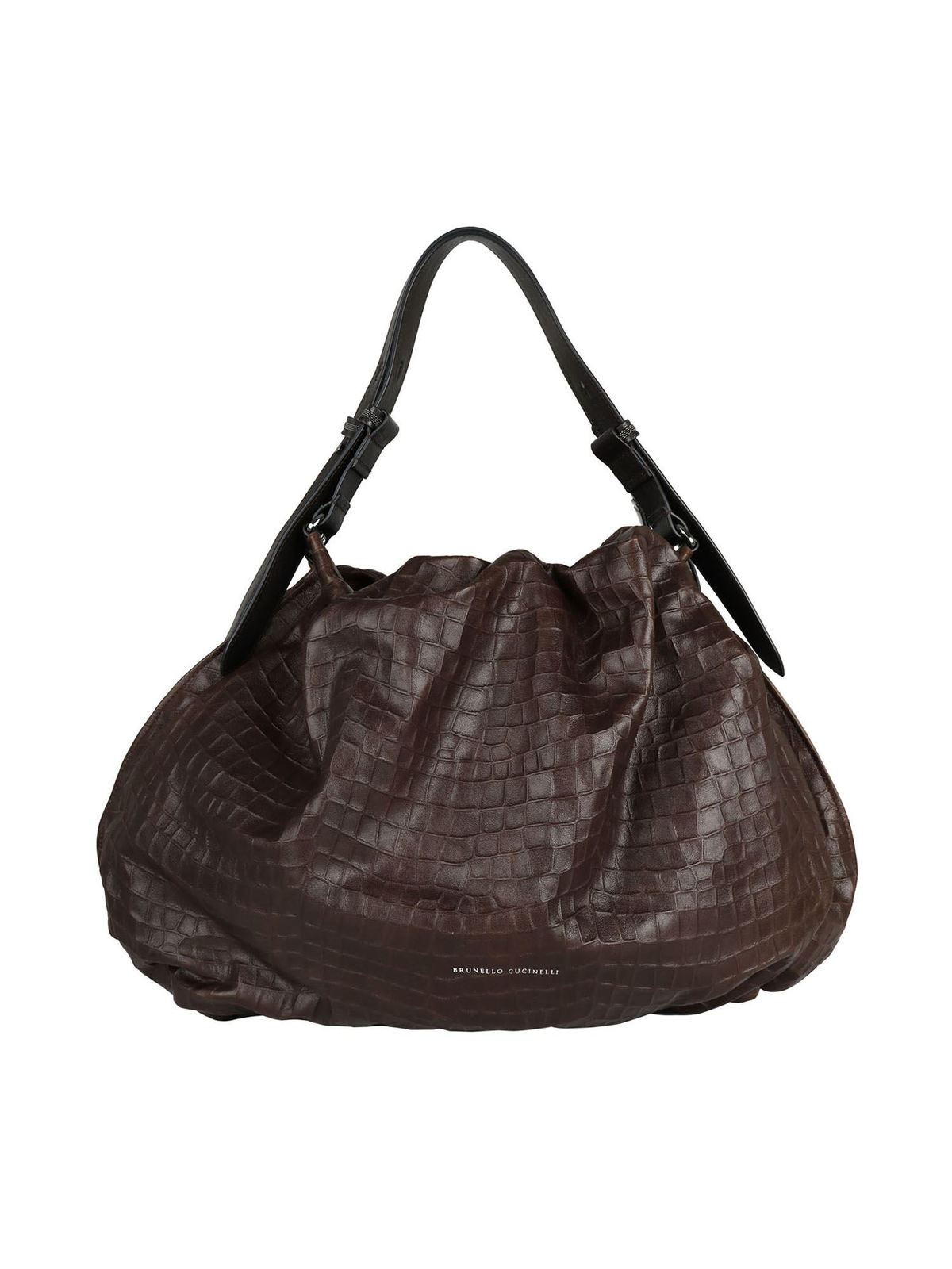 Brunello Cucinelli LOGO CROCODILE PRINT BAG IN BROWN