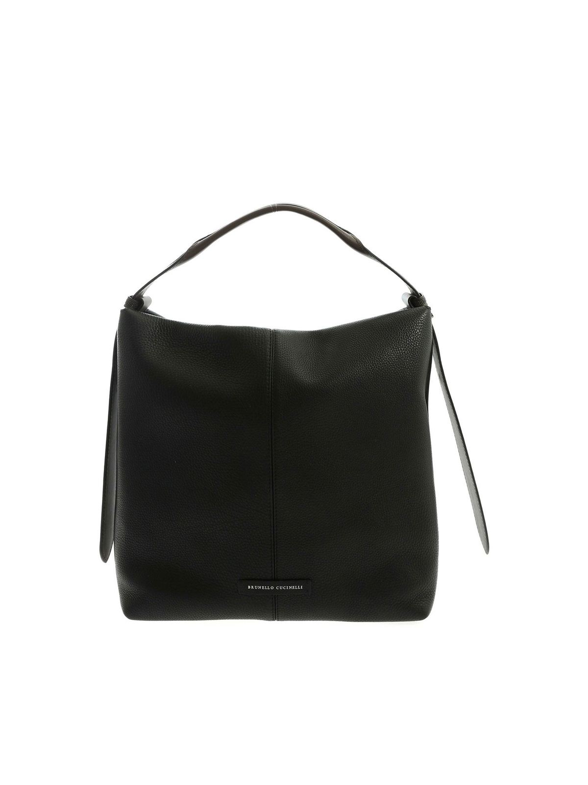 BRUNELLO CUCINELLI LOGO LEATHER SHOULDER BAG IN BLACK