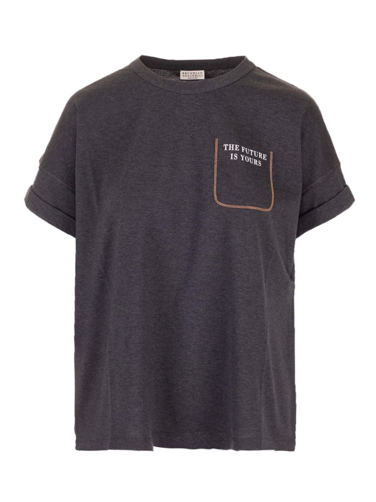 Brunello Cucinelli Cottons SHINY FAUX-POCKET T-SHIRT IN GREY