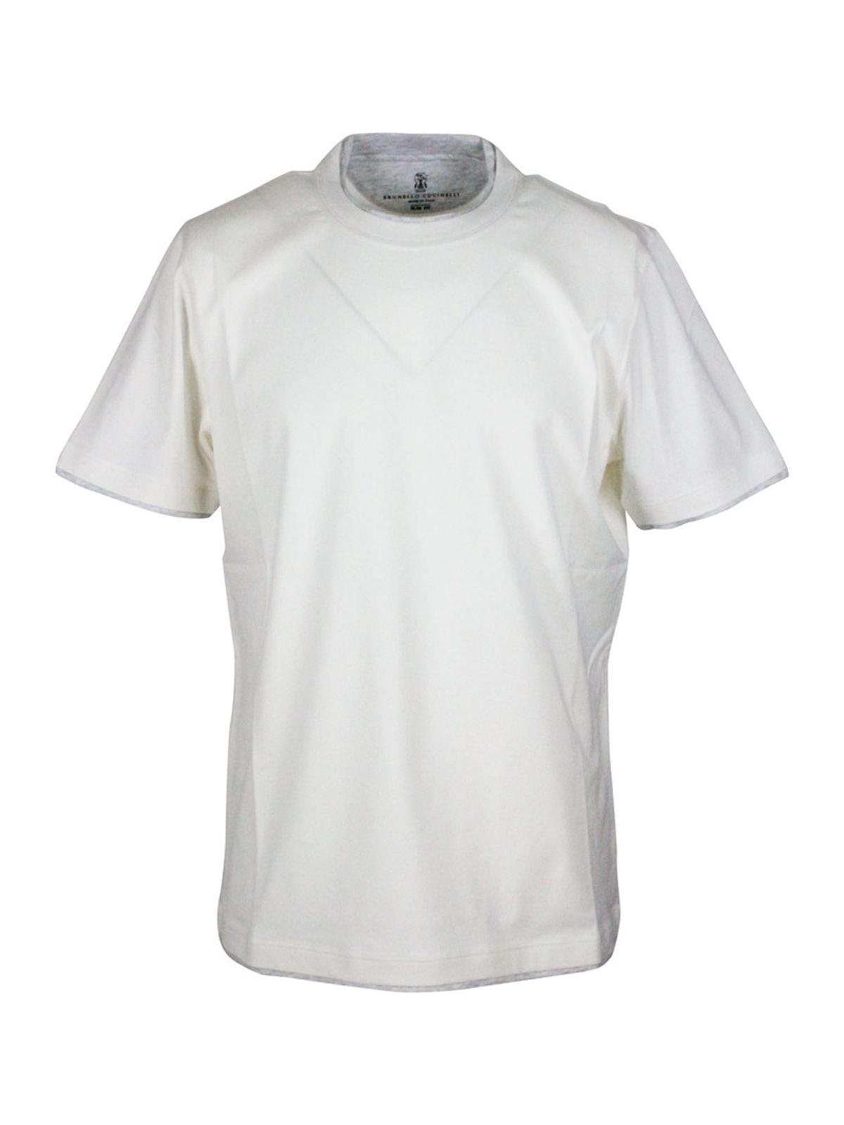 Brunello Cucinelli SLIM FIT T-SHIRT IN WHITE