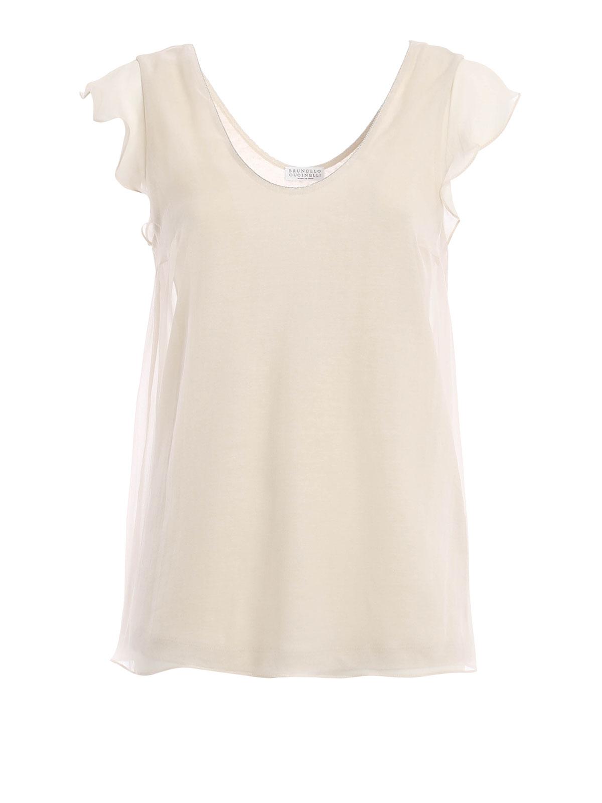 Silk T Shirt By Brunello Cucinelli Tops Tank Tops