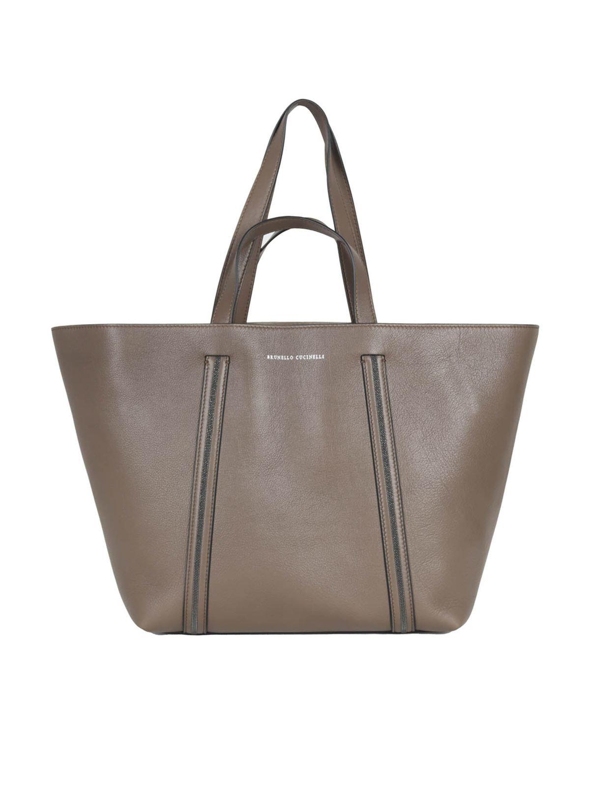 Brunello Cucinelli Monili Detail Tote Bag In Brown