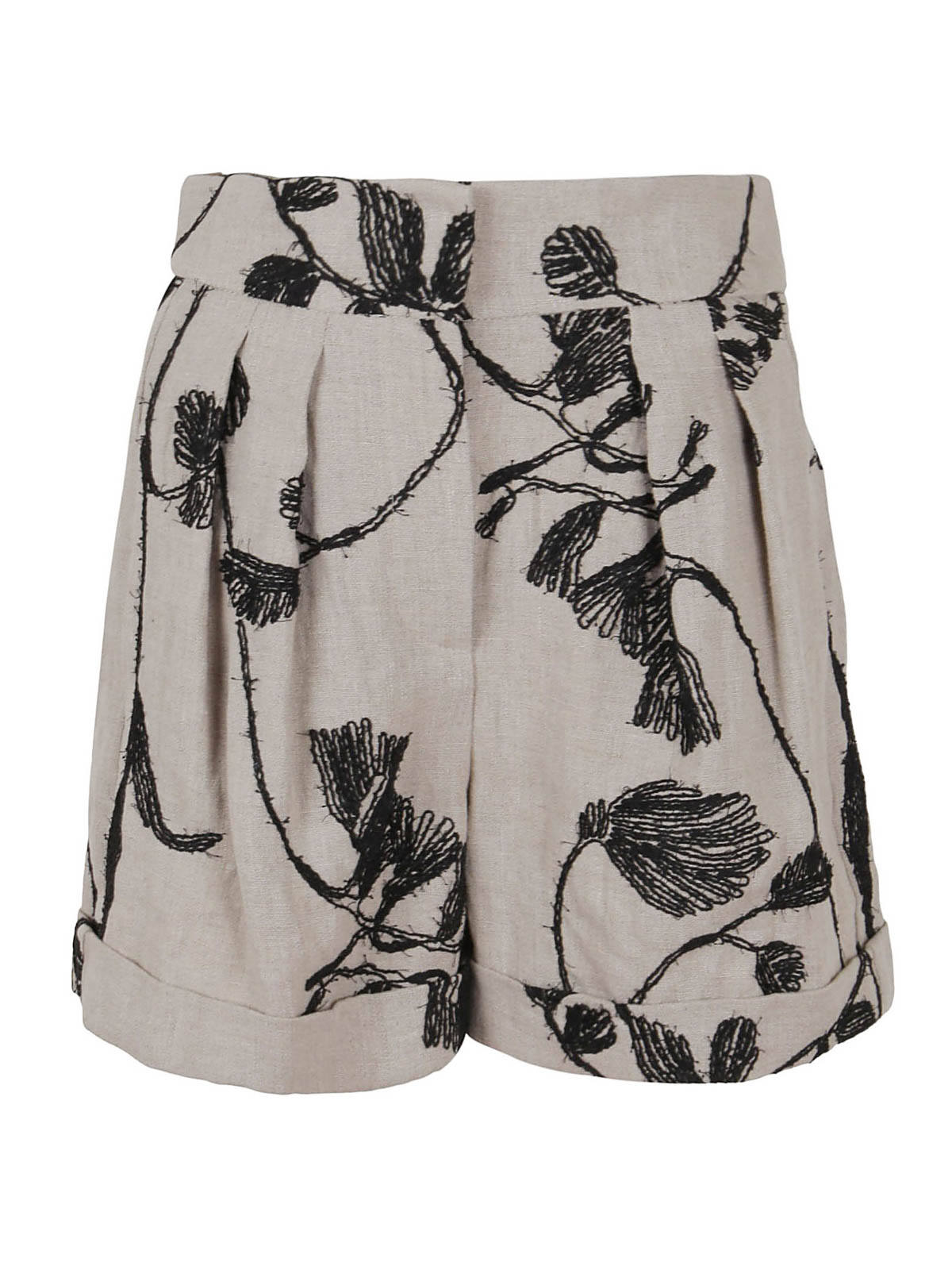 Brunello Cucinelli EMBROIDERED FLORAL SHORTS