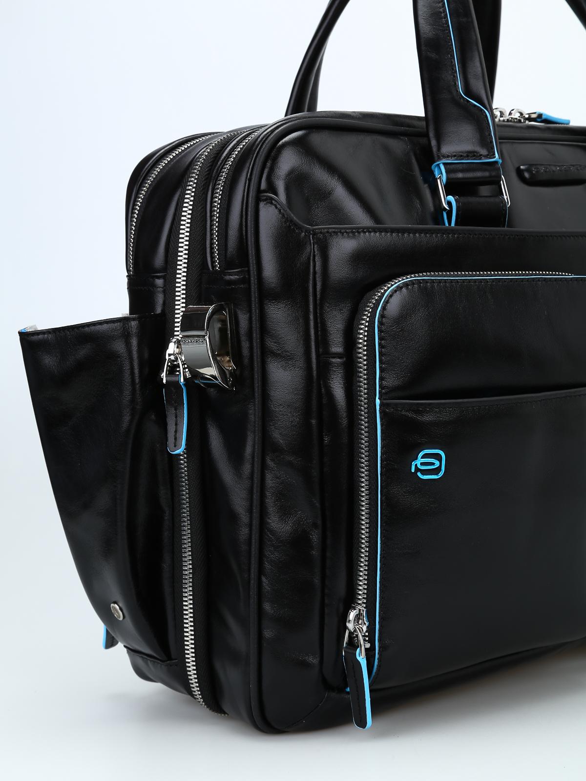 San Francisco 25ad0 628b9 Piquadro - Borsa nera in pelle spazzolata - borse da ufficio ...