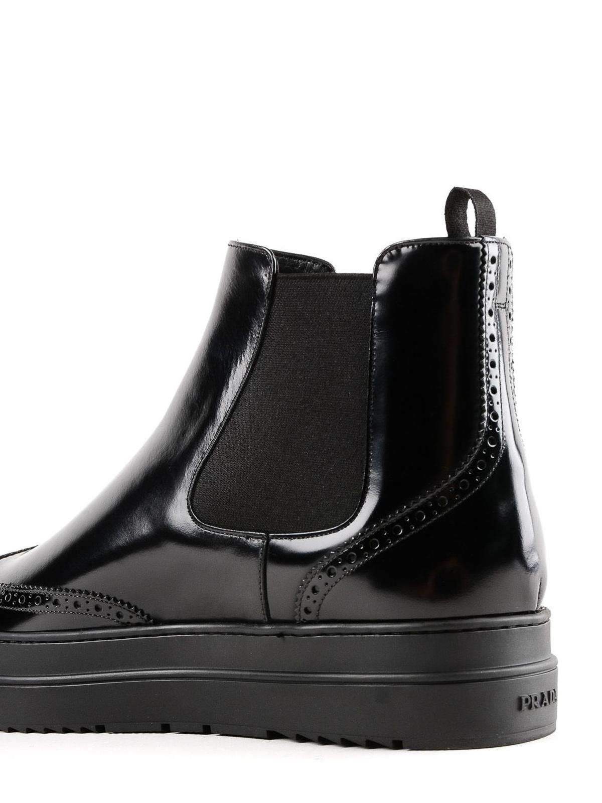 Brushed leather platform Chelsea boots