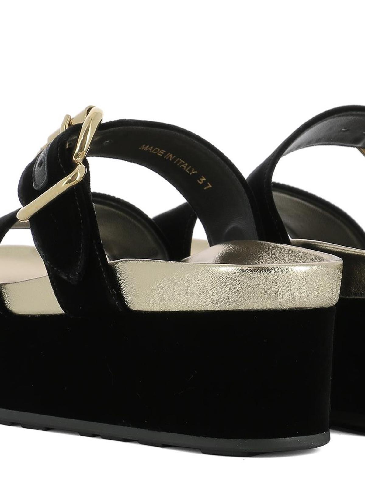 7eea078f6ae Prada - Buckled velvet platform sandals - sandals - 1XZ640F040LSZF0002