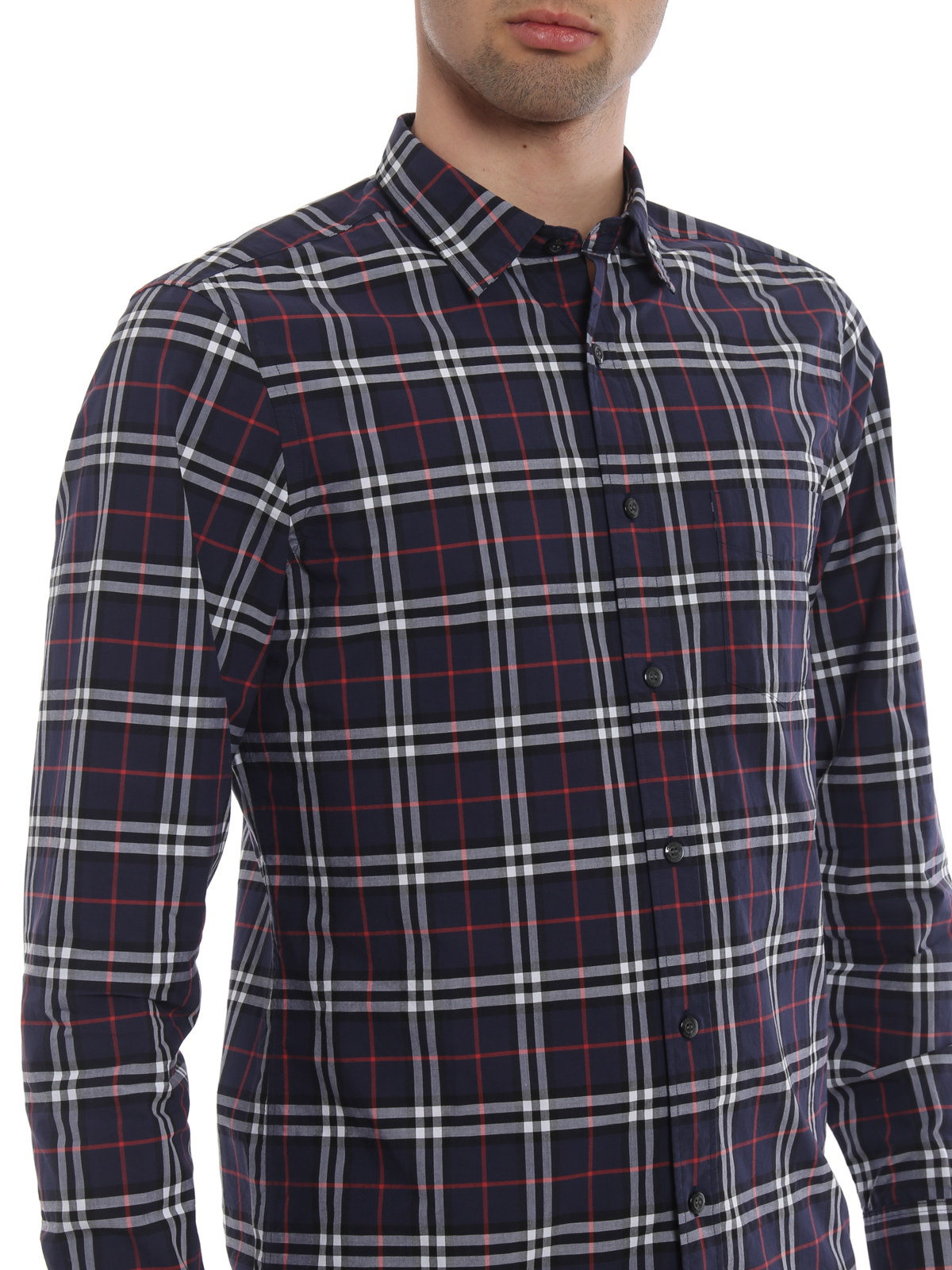 ce2a9c2d78 Burberry - Camicia Alexander cotone Check navy - camicie - 4061812