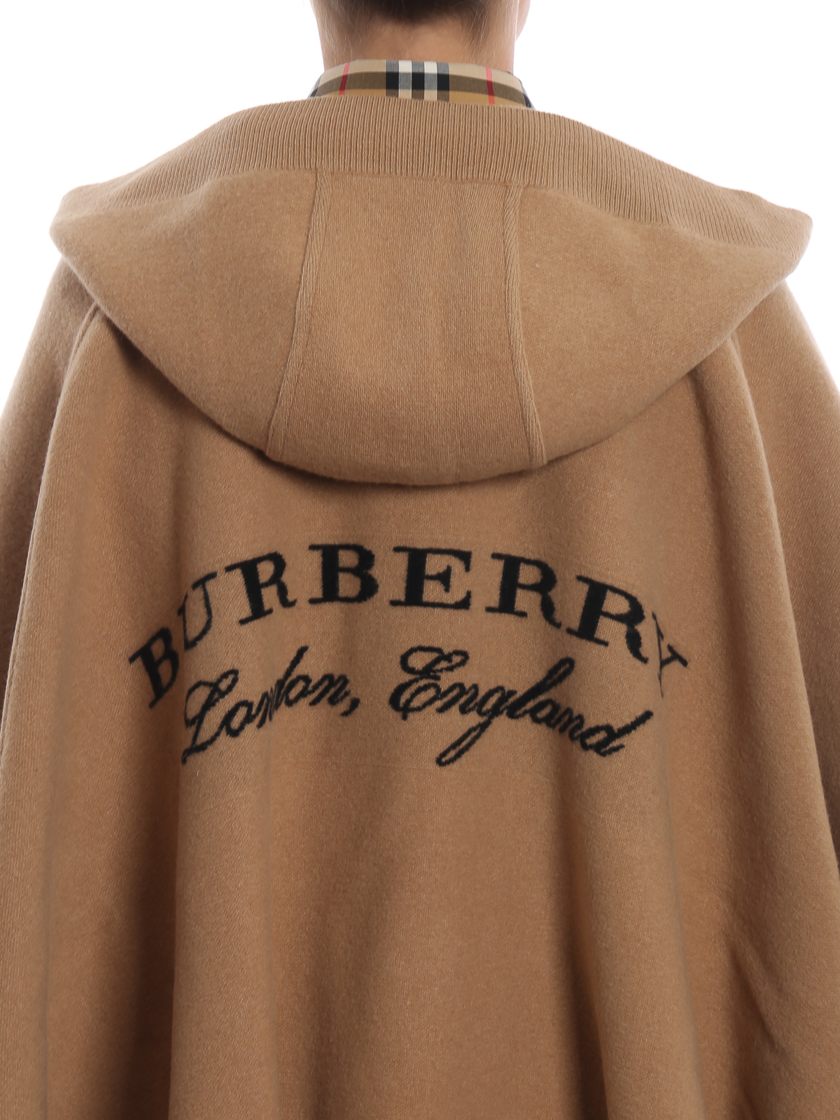 Vellidte Burberry - Carla open front hooded wool cashmere poncho - Capes OS-73