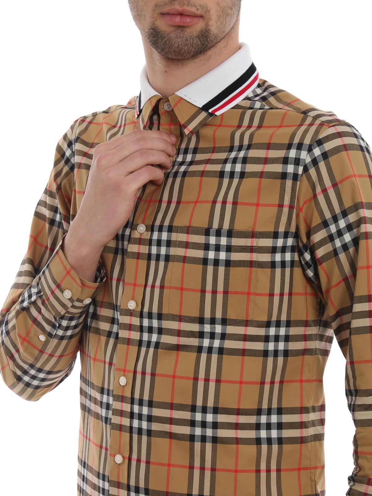 2ebd7cb90b Burberry - Camicia Edward con colletto in maglia - camicie - 8004962
