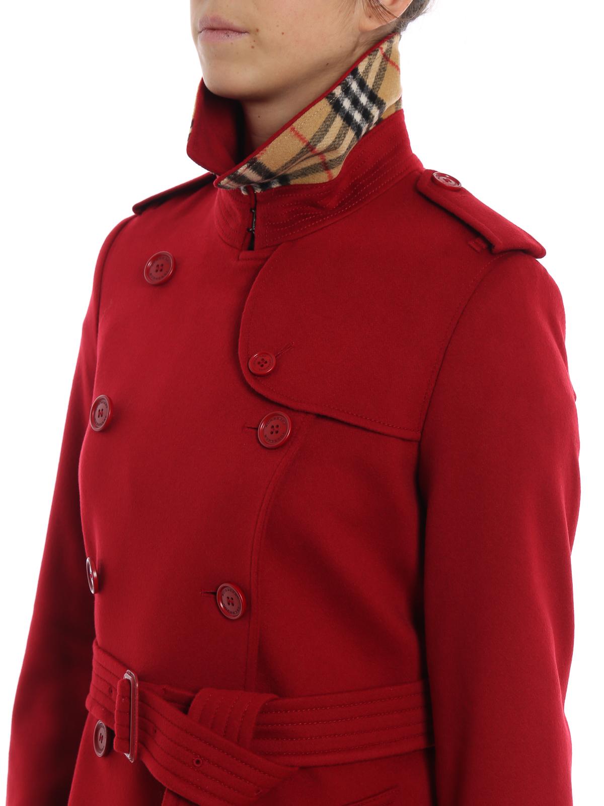 Burberry - Cappotto Kensington in cashmere rosso - cappotti al ... e1dc86d3d969
