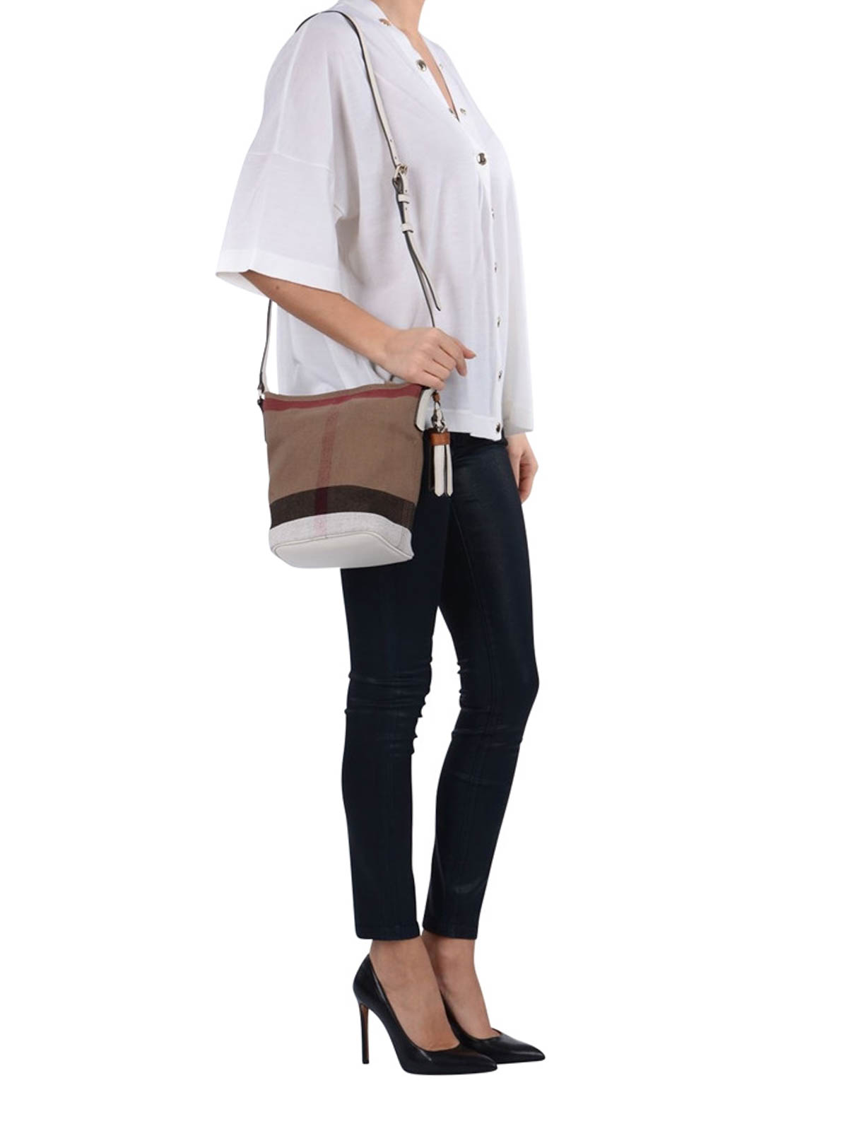 6e1689a8a225 Burberry Petite Ashby Canvas Bucket Bag In Black Lyst