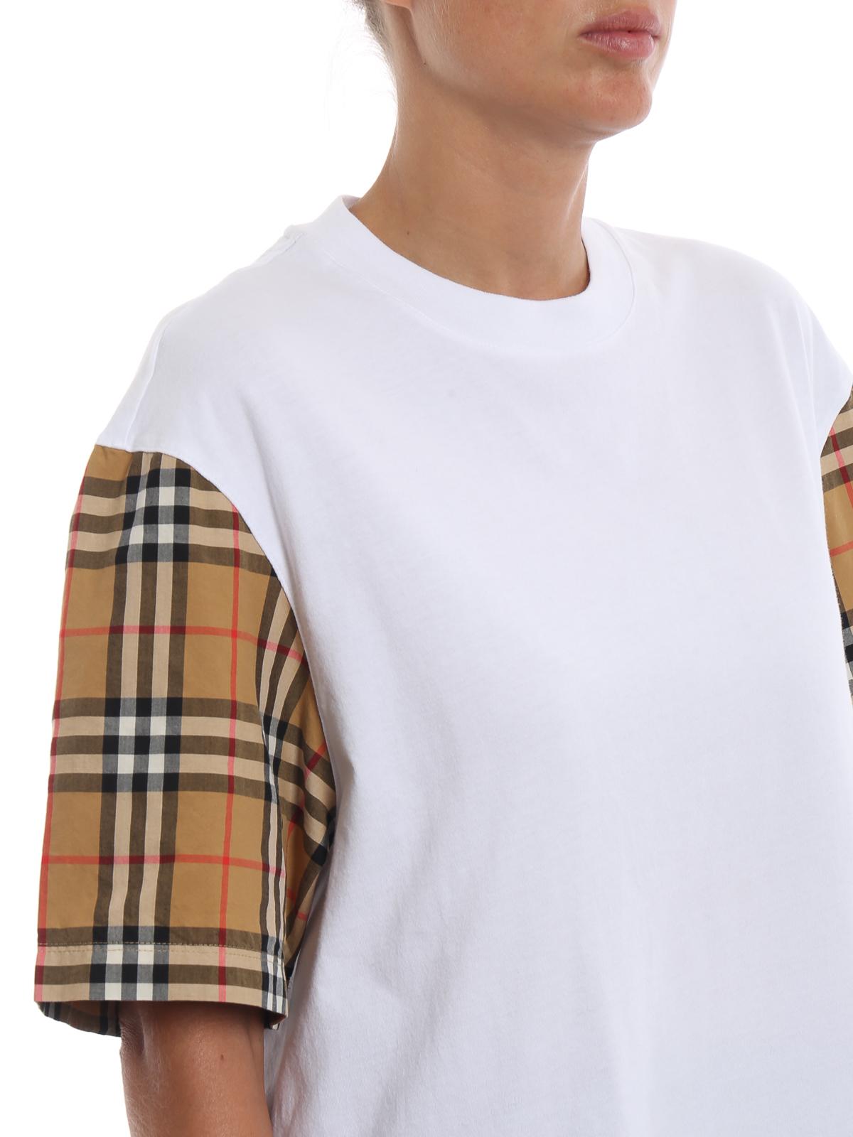 c2a5dbfc676f Burberry - Serra vintage check sleeve white cotton Tee - t-shirts ...