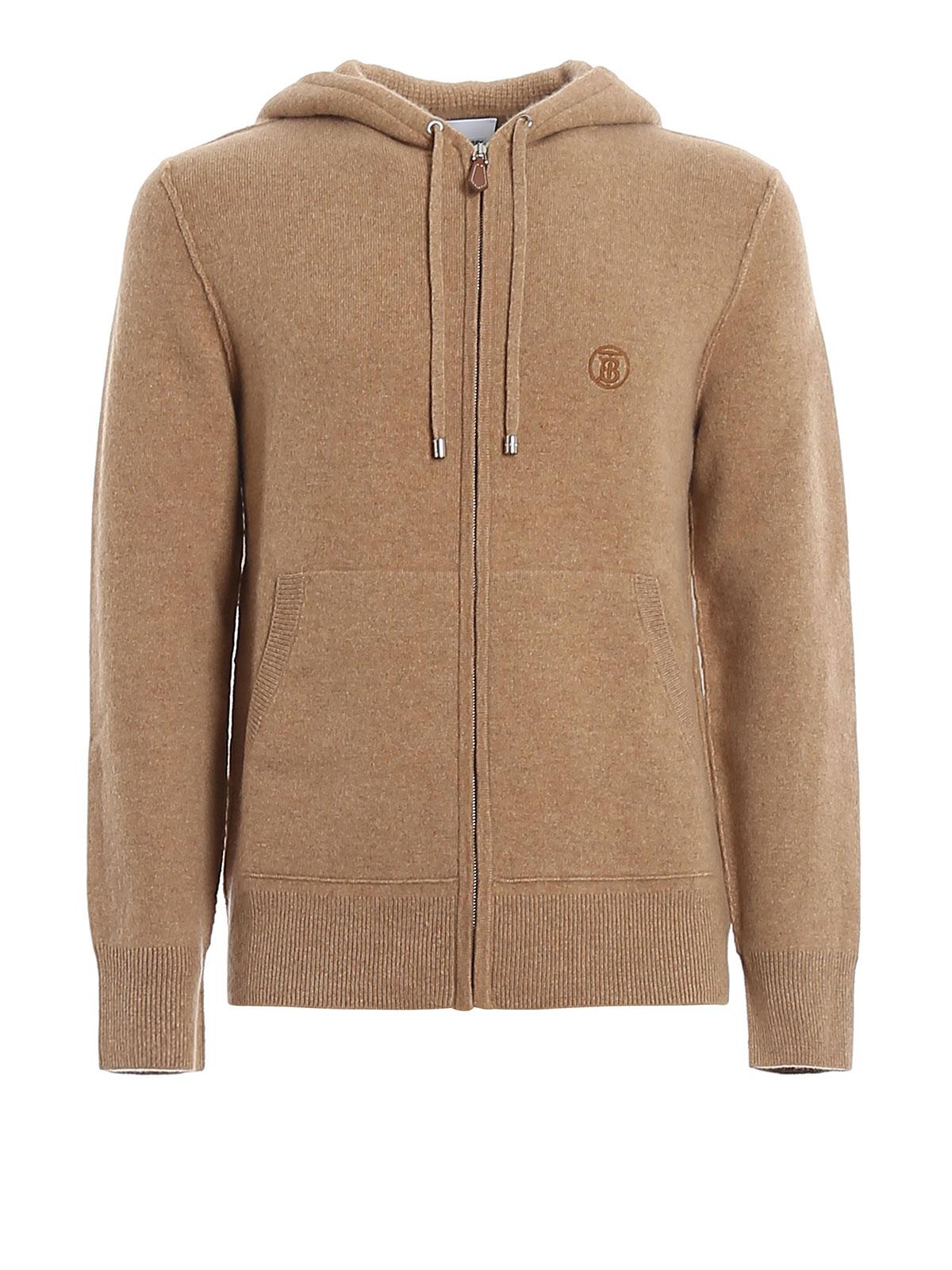 Burberry Monogram Motif Cashmere Blend Hooded Top In Neutrals