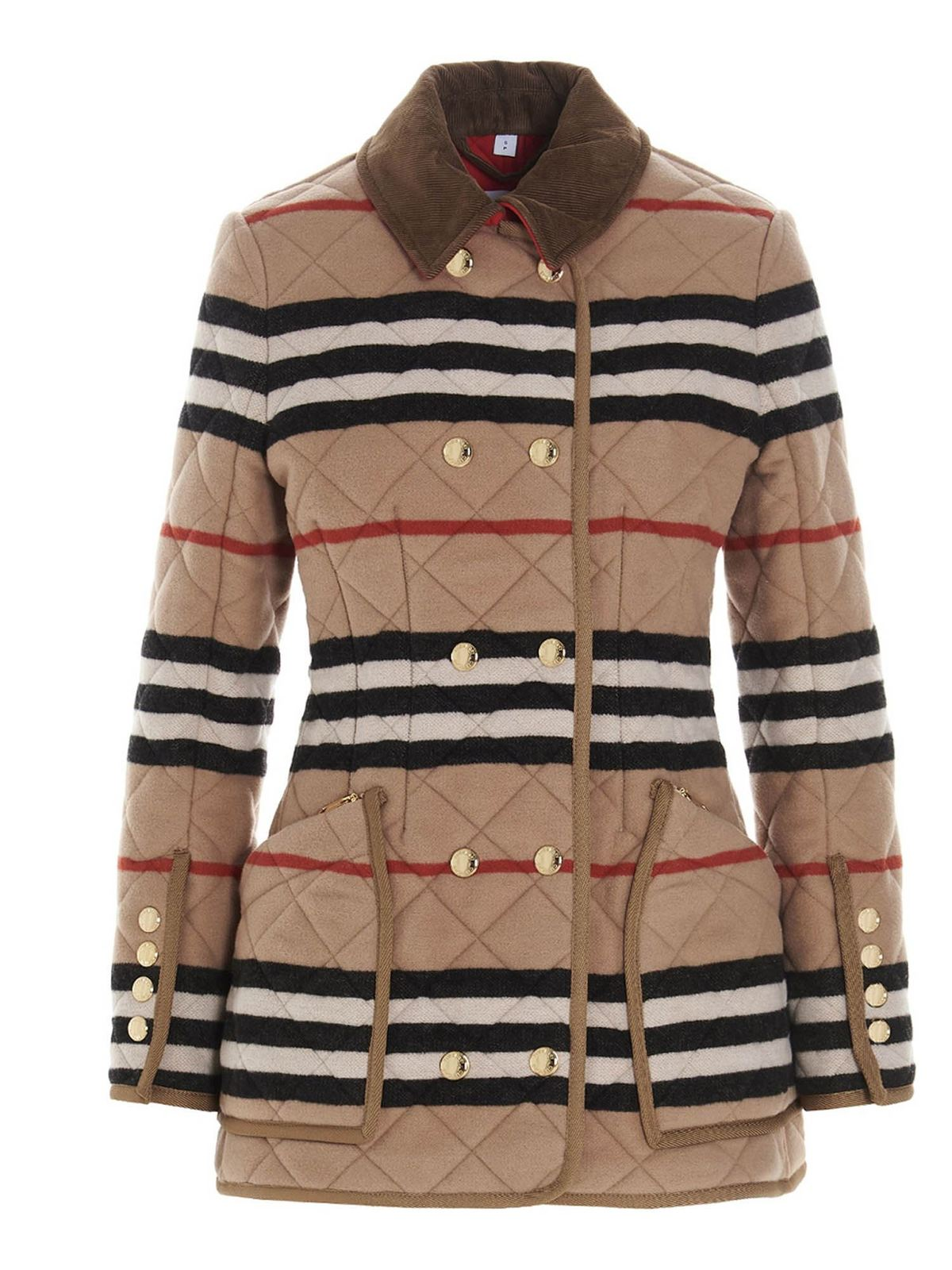 Burberry STRIPED QUILTED JACKET IN LIGHT CAMEL COLOR