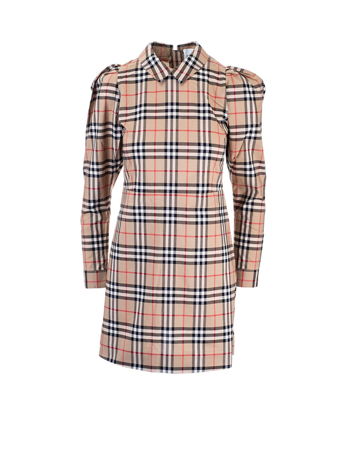 Burberry Kids' Beige Dress For Girl With Vintage Check