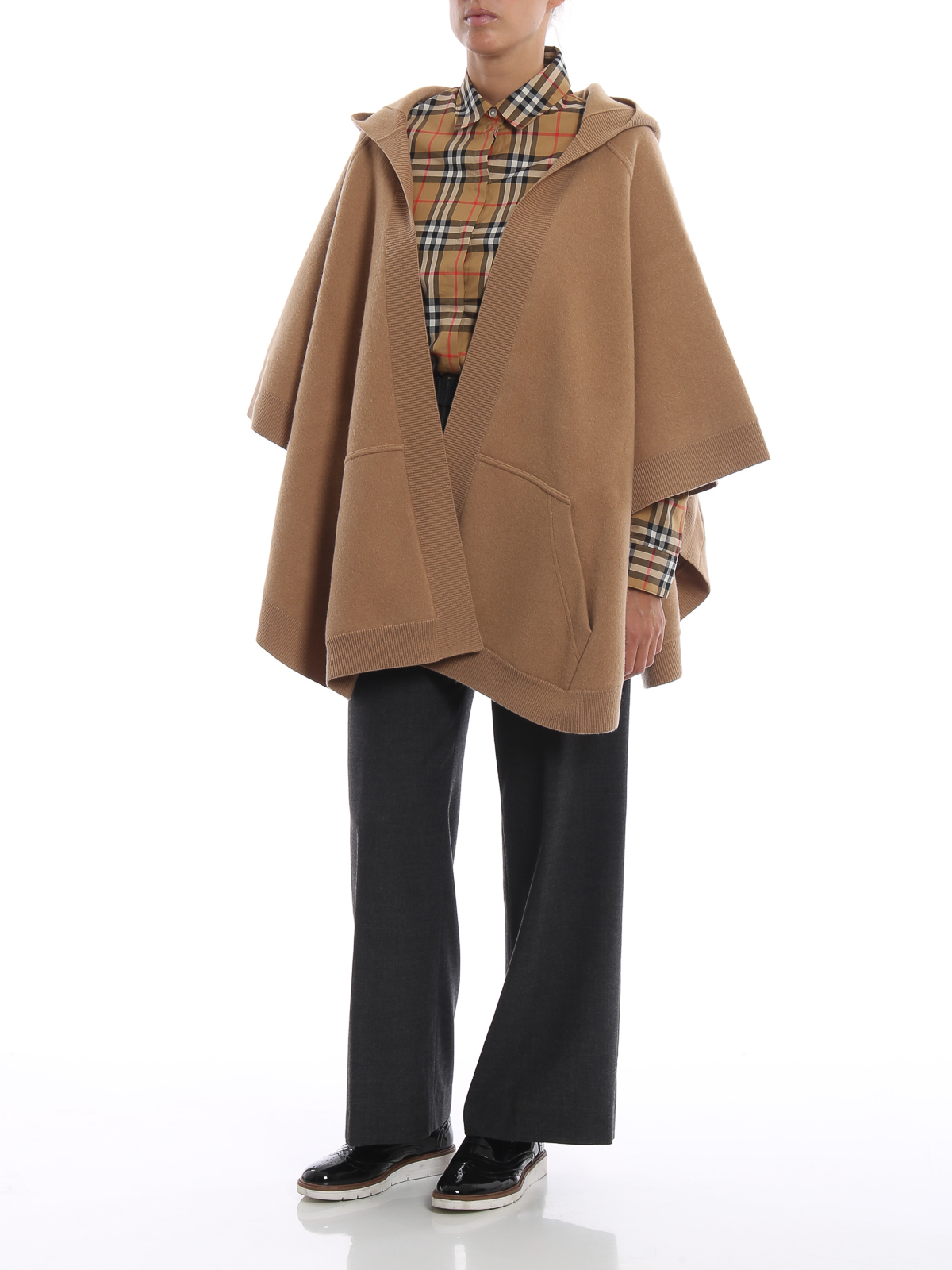 Nye Burberry - Carla open front hooded wool cashmere poncho - Capes OH-17