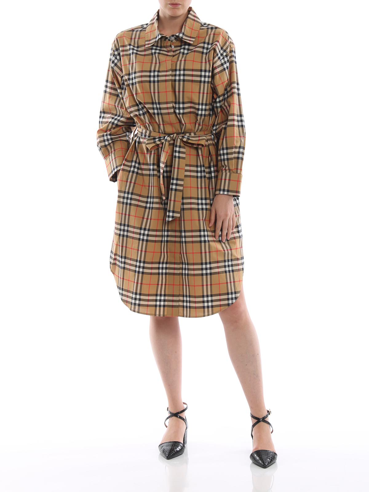 5b59d5dad652 BURBERRY  knee length dresses online - Isotto vintage check cotton shirt  dress