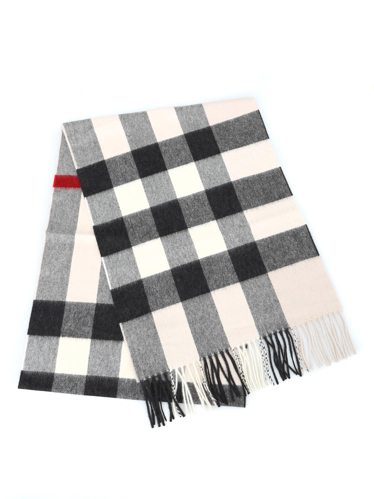 BURBERRY  sciarpe e foulard online - Sciarpa in cashmere a quadri bianchi e  neri 63076e095286