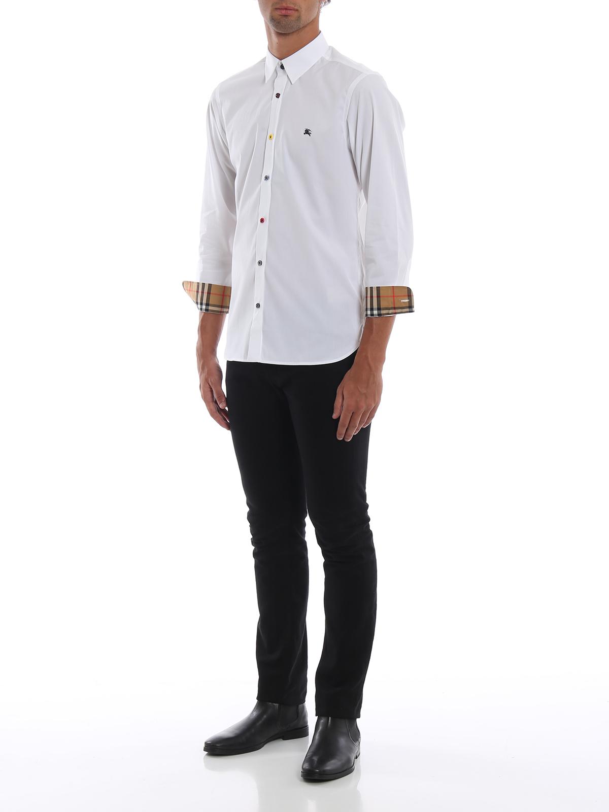 scarpe sportive 33664 dfcc5 Burberry - Camicia bianca William con bottoni fantasia ...