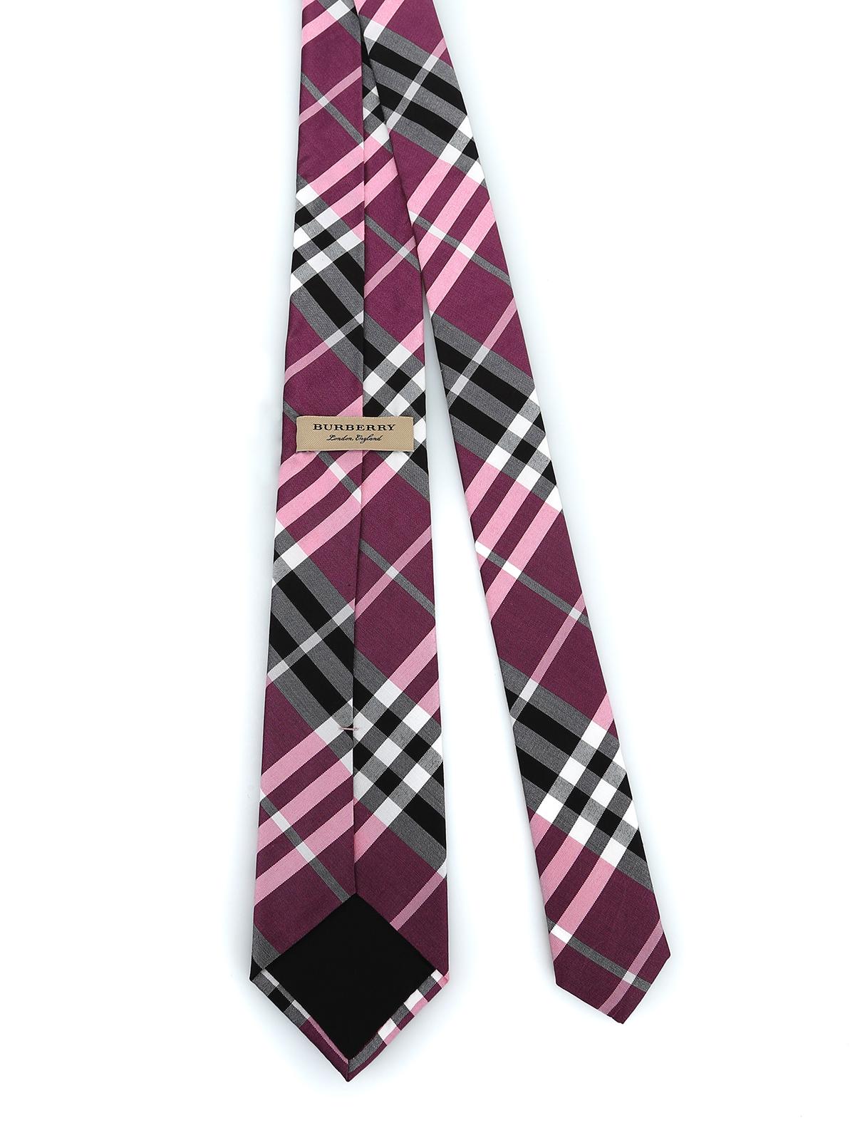 7524503e2647 BURBERRY: ties & bow ties online - Manston rose pink Vintage check silk tie