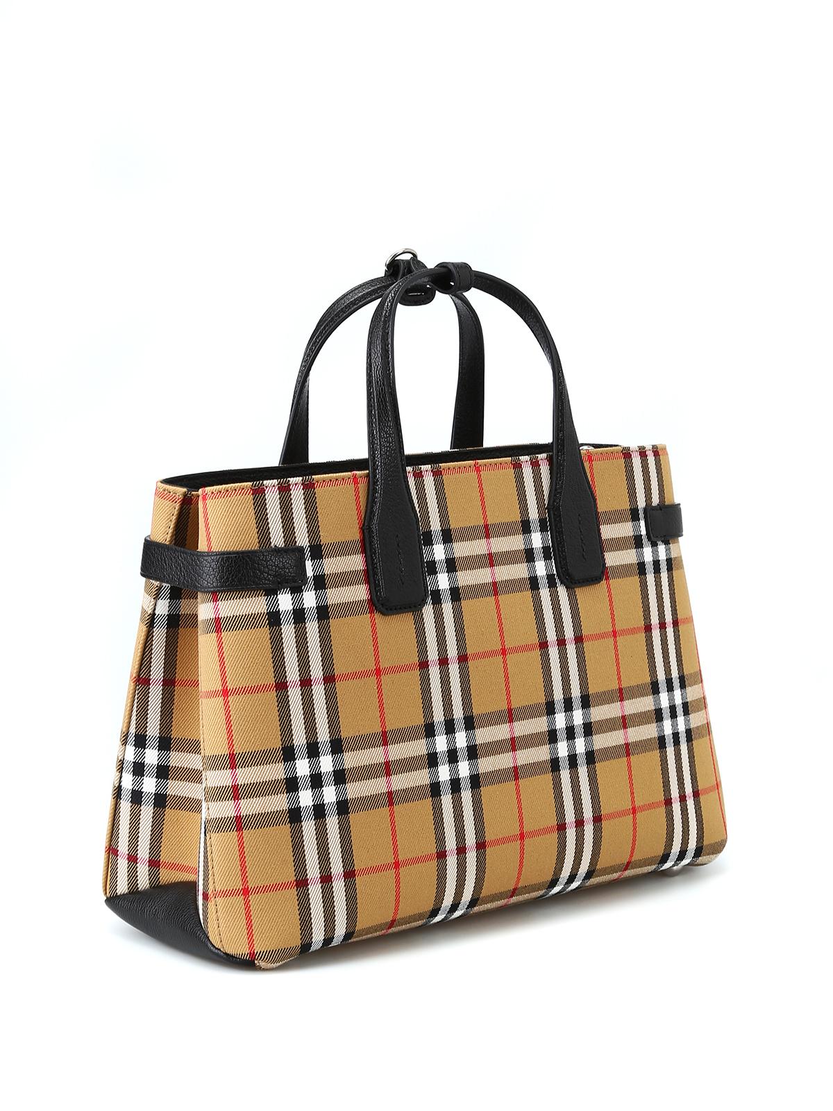 Burberry borsa shopping in tessuto e pelle