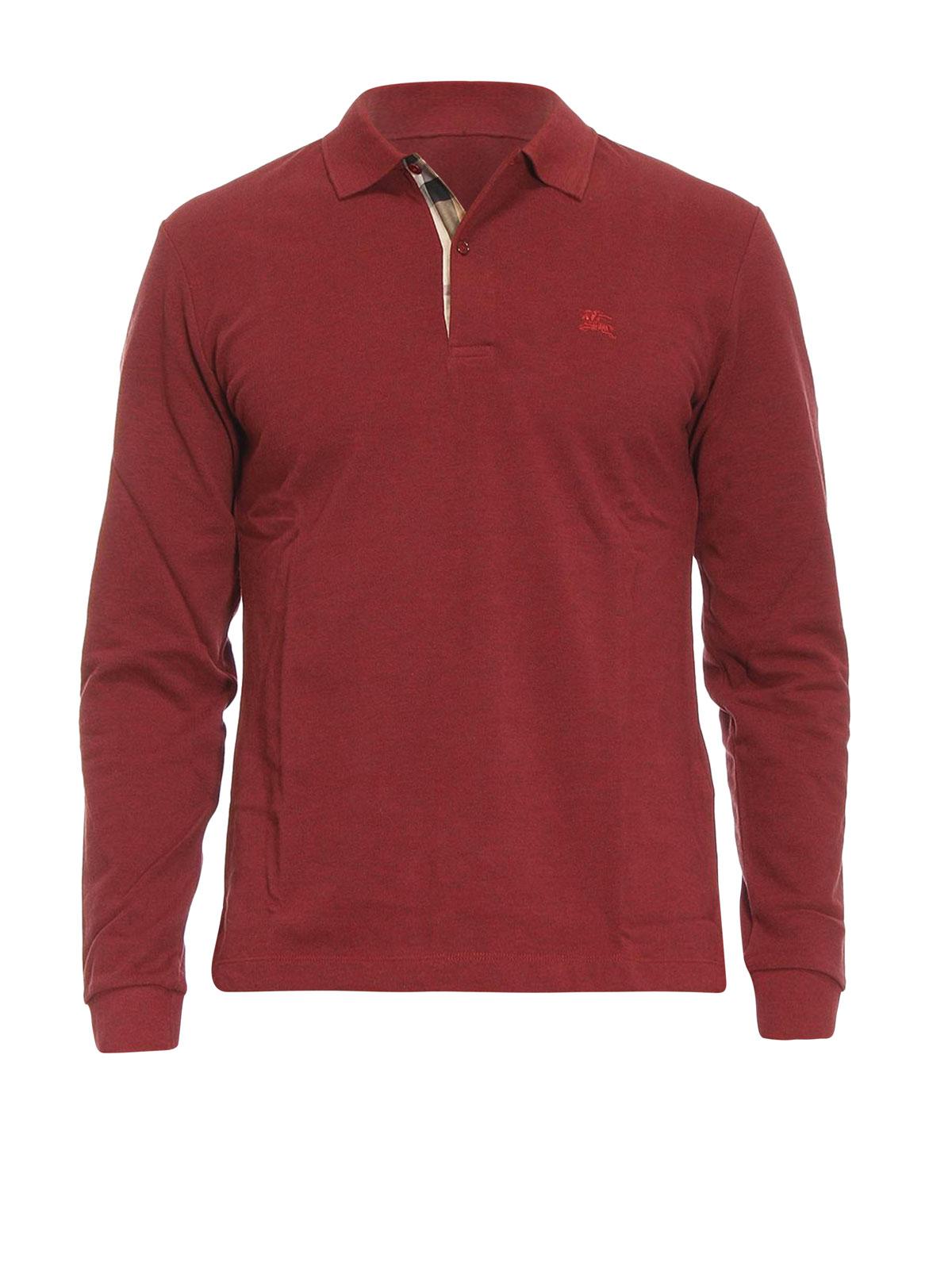 Check Detail Pique Cotton Polo By Burberry Polo Shirts