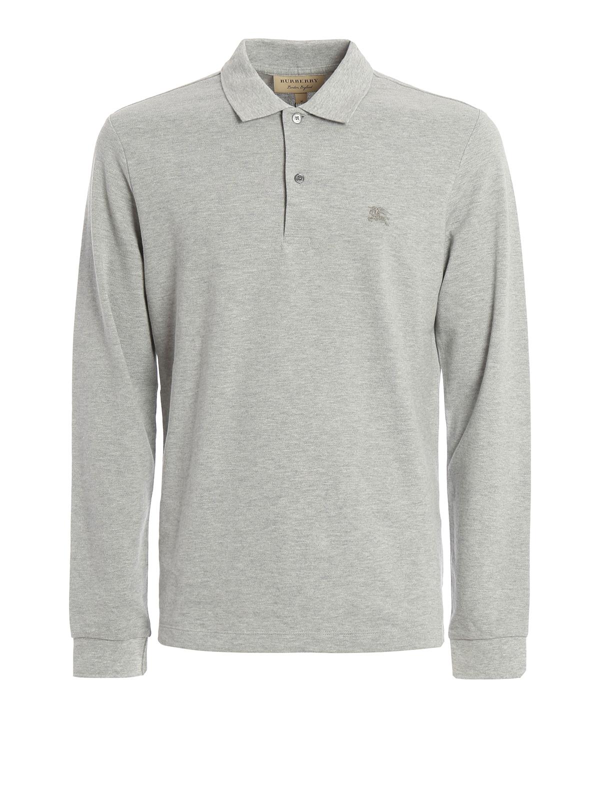 Pique Cotton Long Sleeve Polo Shirt By Burberry Polo