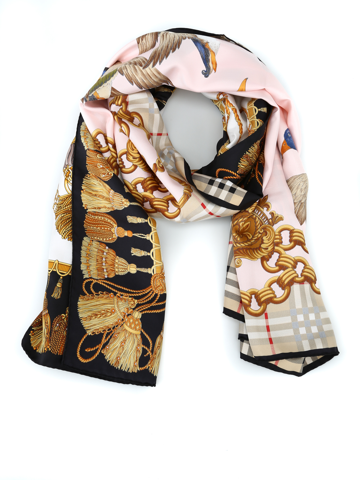 Burberry Sciarpa a collage Chain Duck in twill di seta