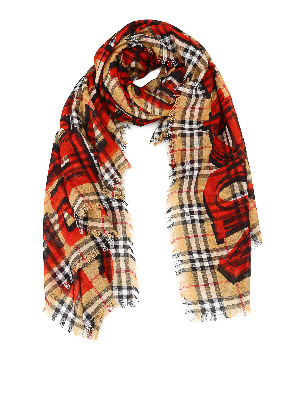 Burberry Scarves Online Graffiti Print Wool And Silk Blend Scarf