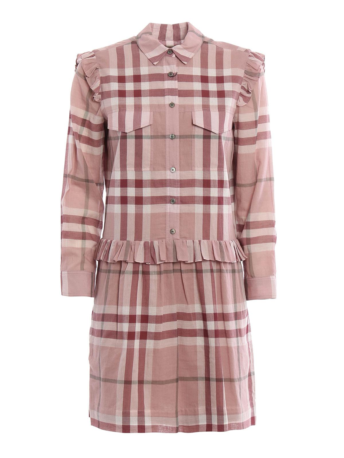 Isaline Cotton Check Shirt Dress By Burberry Short