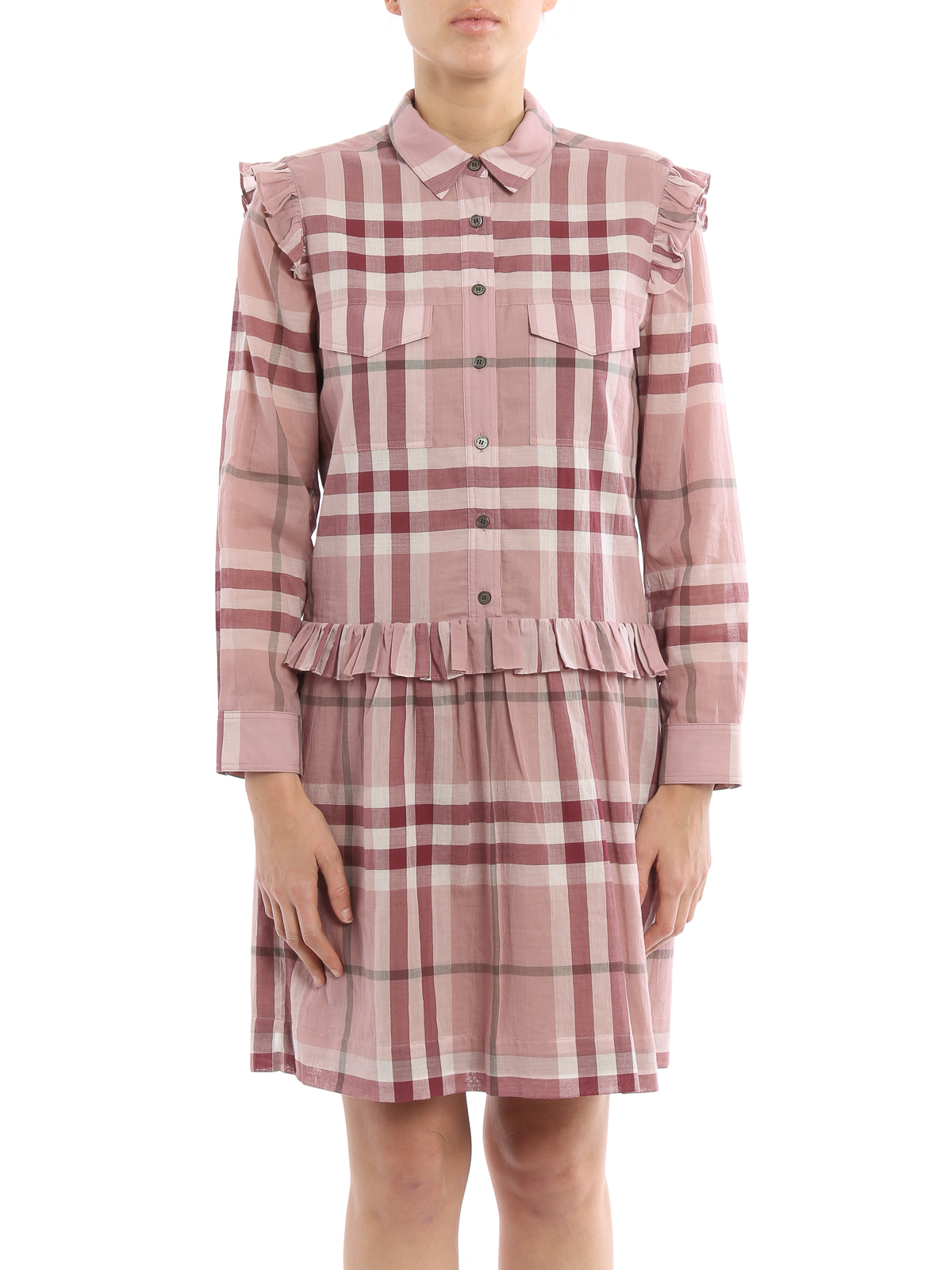 Isaline cotton check shirt dress by burberry short for Burberry check shirt dress