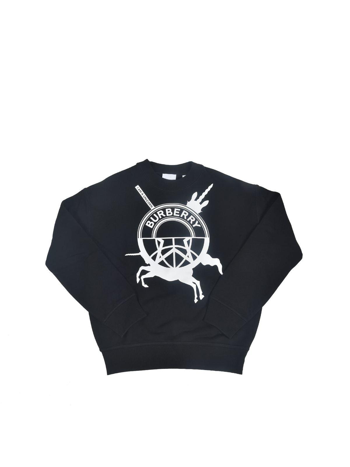 Burberry Kids' I Am A Unicorn Sweatshirt In Black