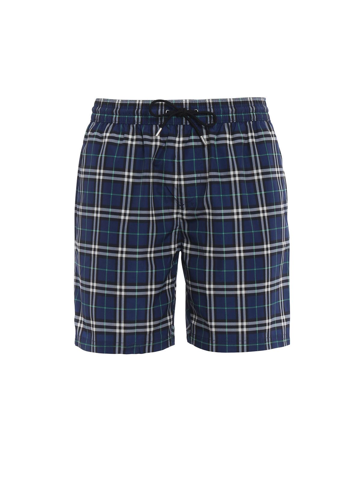 382528265b304 BURBERRY: Swim shorts & swimming trunks - Guildes blue Check swim shorts