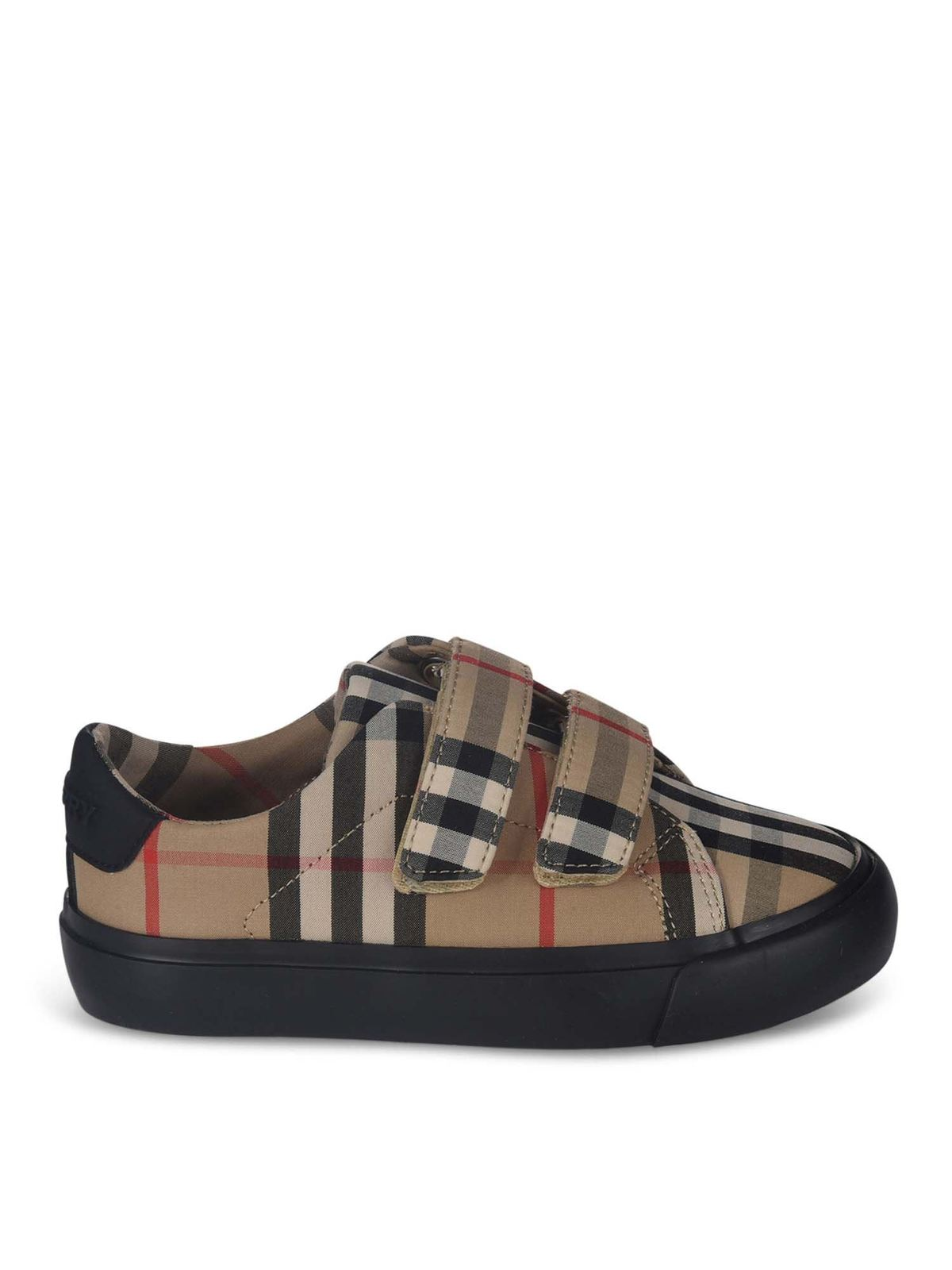 BURBERRY MINI MARKHAM SNEAKERS IN BEIGE AND BLACK