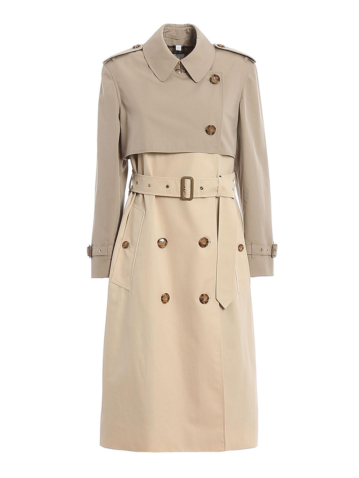 Burberry Cotton Gabardine Long Trench Coat In Light Sand (beige)