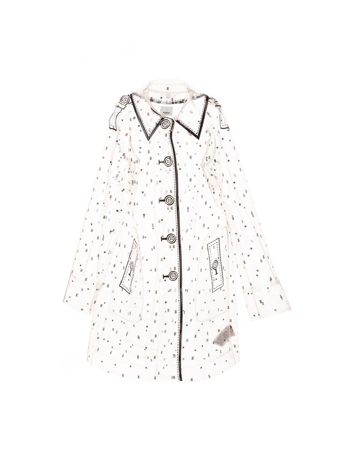 Burberry Kids' Transparent Printed Trench Coat In Black