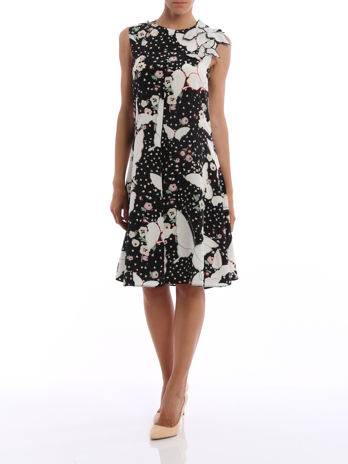 a2624308e4c0b Valentino - Butterfly silk sleeveless dress - cocktail dresses ...