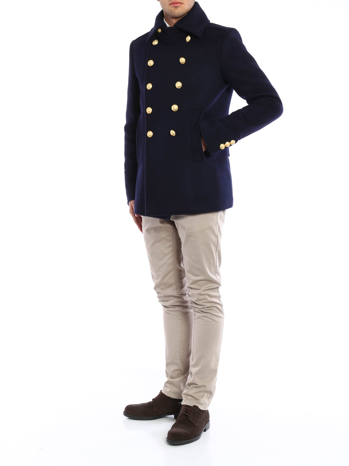 newest 6c15f 1f2cc Balmain - Cappotto doppio petto con bottoni - cappotti corti ...
