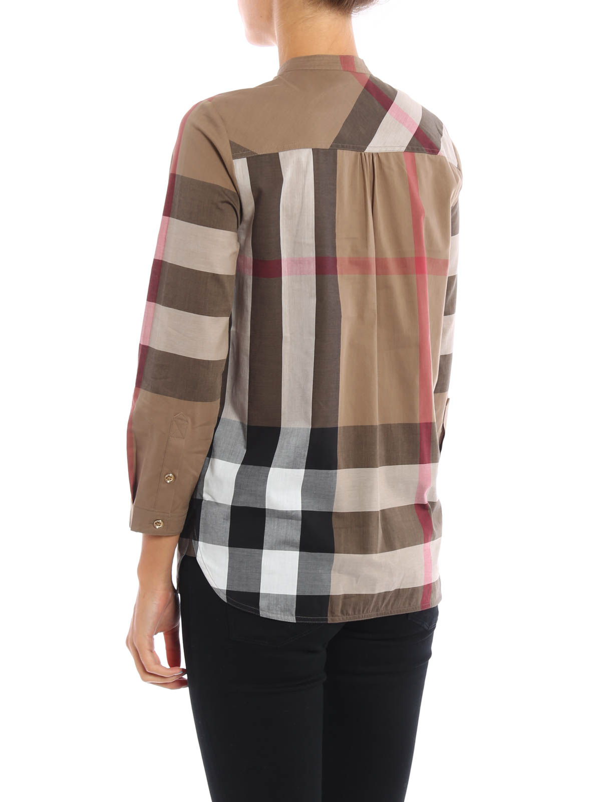 buttoned plastron cotton blouse by burberry blouses ikrix. Black Bedroom Furniture Sets. Home Design Ideas