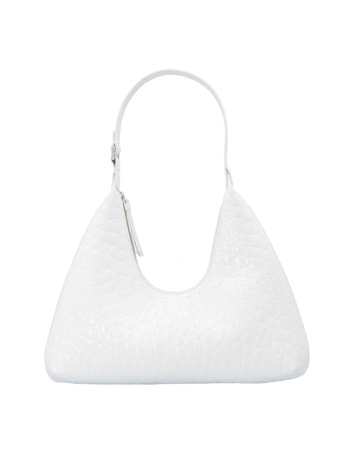 By Far CIRCULAR CROCO PRINT AMBER BAG IN OPTIC WHITE