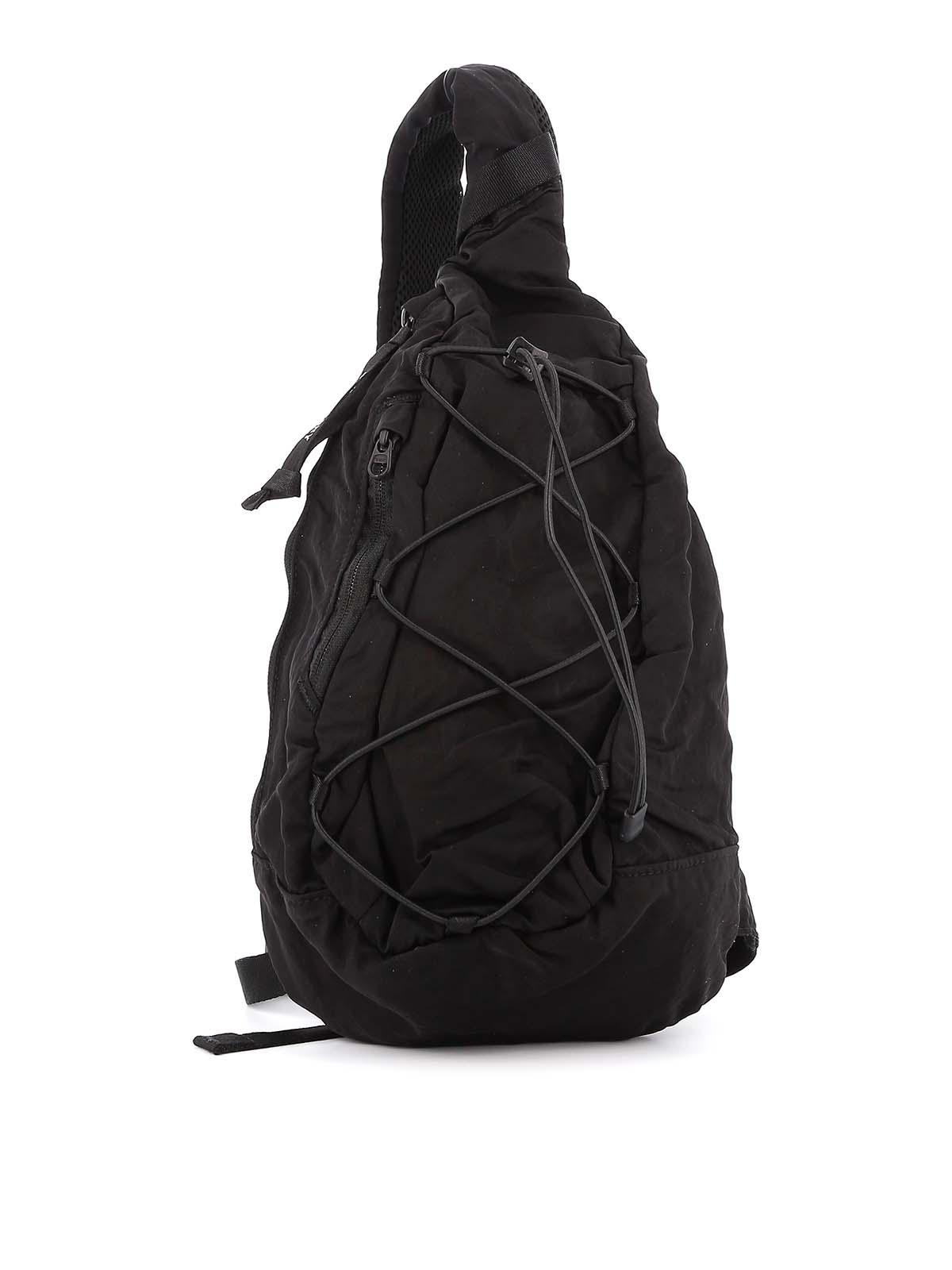 C.P. Company Black Nylon One Shoulder Backpack